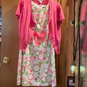 Kim Rogers Signature, dress with watermelon sweatr